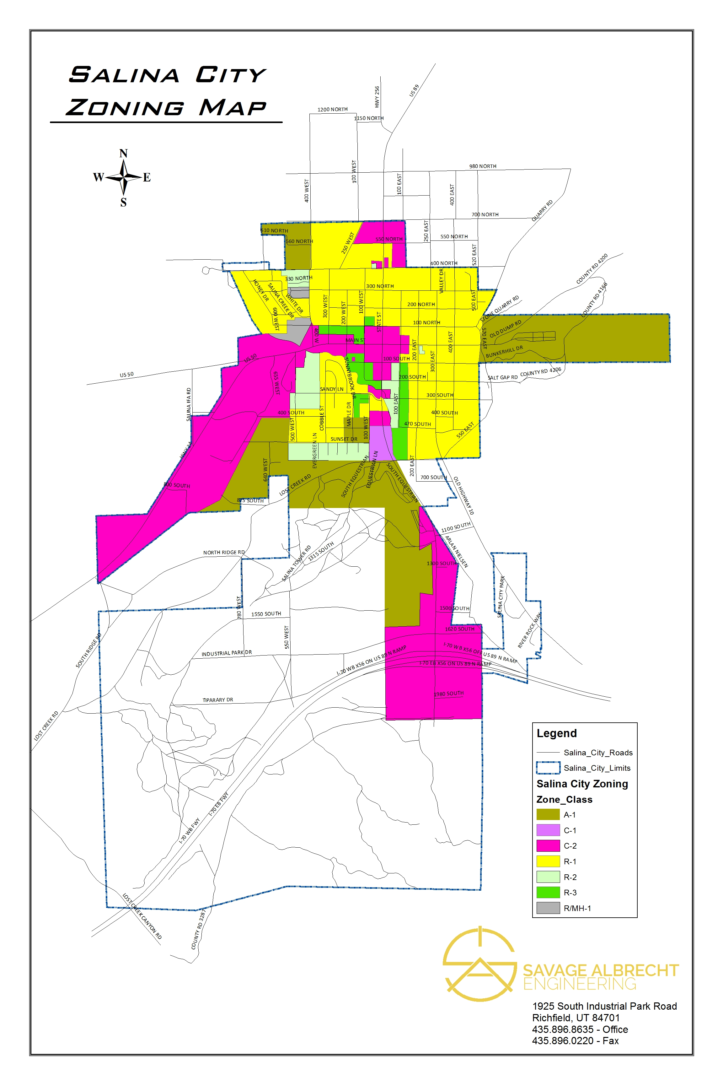 Salina City Zoning Map